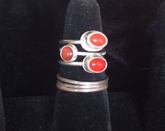 Sterling and carnelian stackable rings.