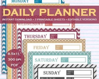 "Printable & Editable Daily Planner Kit Downloadable - 7 Colors - 8.5x11"" PDF"