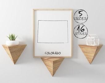 Colorado wall art, Colorado print, Colorado poster, Colorado map, Colorado state, Map art print, Map poster, Map print, Art print, Black and