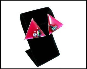 Modernist AB Rhinestone Earrings, Burgundy Maroon Lucite, Blue Green Aurora Borealis, Maid of Honor, Pageant Earrings, Gift For Her
