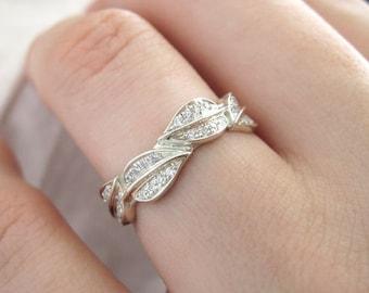 Leaf Engagement Wedding band, White Gold Leaf Ring, White Gold Leaves Ring, Diamond Leaf Ring, Diamond Leaves Ring, Forest Ring