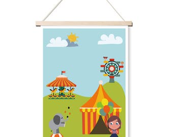 Poster - Childhood retro - poster, room, child, decoration, circus, illustration, balloon, vintage - A