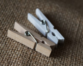 Mini pegs 3.5 cm choice between white or raw wood-pack of 10, 25, 50, 75, 100, 150, 200