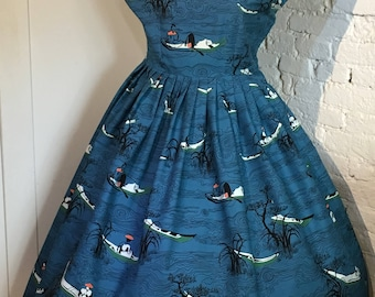 Original 1950s Novelty Print Cotton Dress, Traditional Japanese Fishing Boats, UK14