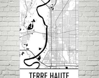 Terre Haute Map, Terre Haute Art, Terre Haute Print, Terre Haute IN Poster, Terre Haute Wall Art, Indiana Gifts, Map of Indiana, Decor, Map