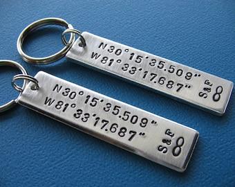 Custom Keychains - Set of 2 - Coordinates Keychains - Latitude Longitude - GPS Keychains