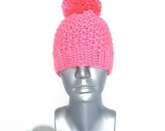 Pink Chunky Beanie with Pom, Bright Pink Knit Hat, Seed Stitch Winter Beanie With Puff, Pink Pom Pom Knit Hat, Tam, Toque, Ski Cap
