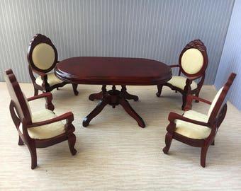 1/12 Miniature Dining Table Chair Set-5pcs