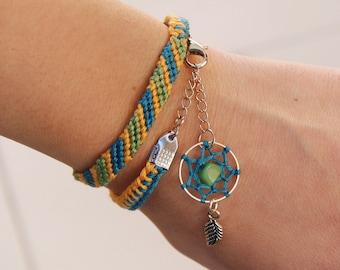 Raw jadeite dreamcatcher bracelet, native american, turquoise dream catcher friendship bracelet, boho stone, green ethnic wrap, hippie charm