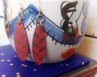 Wood Earrings hand painted pink and brown herringbone pattern