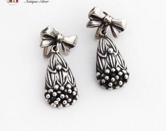 Bow Form Screw Back Earrings Beaded Teardrop Dangles Sterling Silver