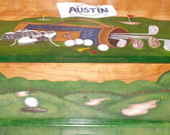 Golf themed toy chest done with Monogram or Name on lid, kids furniture, art and decor, wooden toy box