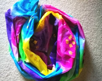 Hand painted by brush designer bespoke scarf multicolour bright
