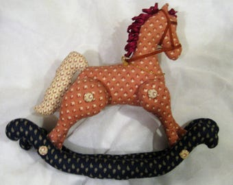 Country Print Rocking Horse with Ribbon Mane and Movable Legs