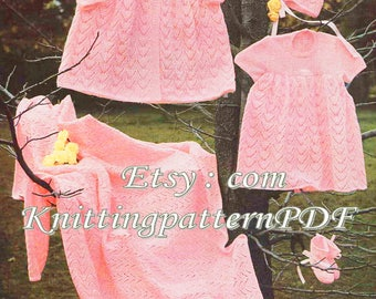 Knitted Layette/ Dress, Bonnet, Bootees and Shawl /3 Sizes/ Instant PDF Digital Download Vintage Knitting Pattern-  A 130