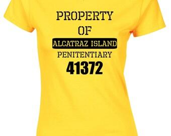 Property Of Alcatraz Ladies T Shirt Womens Prison Jail Fancy Dress Funny Criminal Design San Francisco Penitentiary The Rock Escape