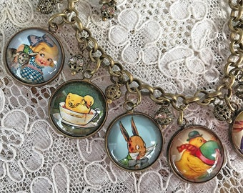Easter Bunny and Friends ~ Glass Dome Charm Bracelet ~ Handmade From Vintage Cards