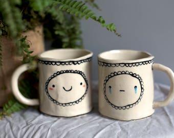Handmade Ceramic Happy/ Crying Double Trouble Mug. Isobel Higley Artist