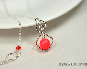 Neon Red Necklace Wire Wrapped Jewelry Handmade Sterling Silver Necklace Neon Jewelry Bright Red Necklace Summer Necklace