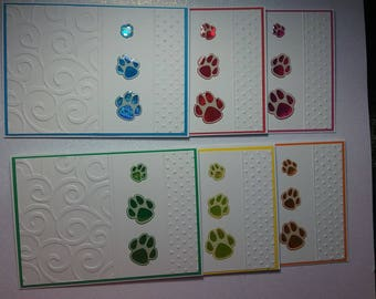 Set of 6 Blank Note Cards featuring Paw Prints