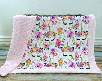 Unicorn Blanket - Baby Girl - Floral Unicorn Blanket - Unicorn Baby Blanket - Baby Girl Blanket - Baby Blanket Girl - Unicorn Baby Shower