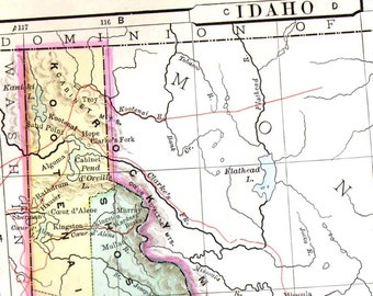 Idaho Map United States USA 1896 Antique Victorian Copper Engraving Vintage Cartography To Frame