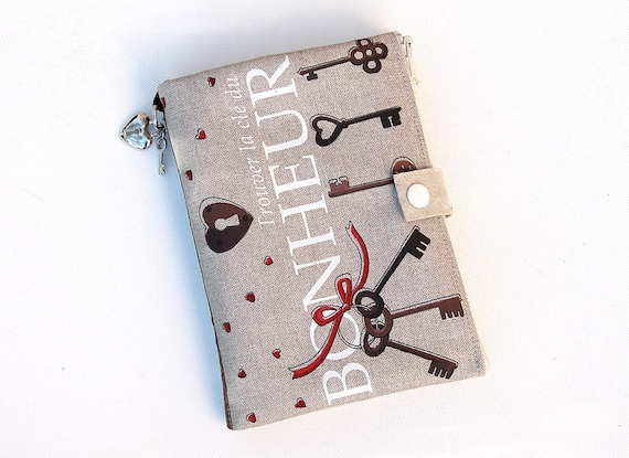 """Purse Organizer / AOR illustrated linen """"Find the key to happiness"""""""