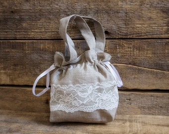 Linen Girl Handbag,  Wedding Sachet, Small Handmade White Lace  Bag, Grey, Rustic Party Bag