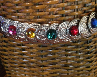 Silver Stretch Belt with Jewel Stones