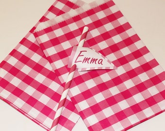 Paper Bags, 24 Pink Gingham Paper Bags, Party Favor Bags, Treat Bags, Packaging Bags, Candy Bags, Cookie Bag, Wedding Favor Bags, Birthday