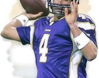 New Brett Favre Minnesota Vikings Art LE 50 12x18 rare