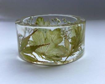 Green acer bangle,green acer bracelet,maple leaf bracelet