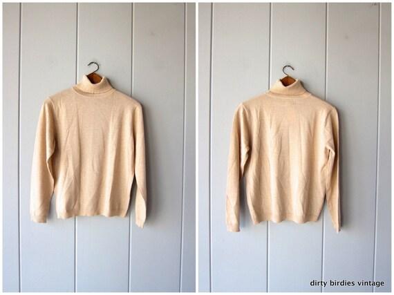 90s Pendleton Sweater | Rib Knit Turtleneck | Beige Ribbed Wool Shirt Thin Sweater Top 1990s Minimal Preppy Long Sleeve Shirt Womens Medium
