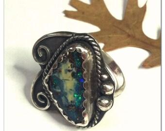 Boulder Opal Swirls Ring October Birthstone