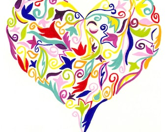 Multi-colored Floral Heart Valentine's 8x10 Print