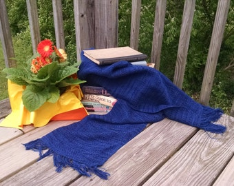 Navy Blue Handwoven Scarf or Stole