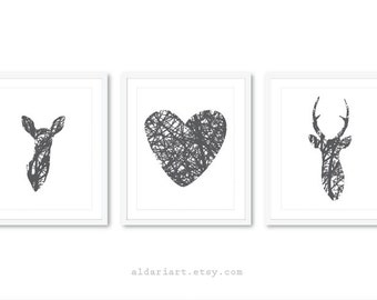 Deer Art Prints - Deer Wall Art - Heart Print - Woodland Decor - Custom Color - 5x7 or 8x10 on 8.5x11 paper - Frames not included