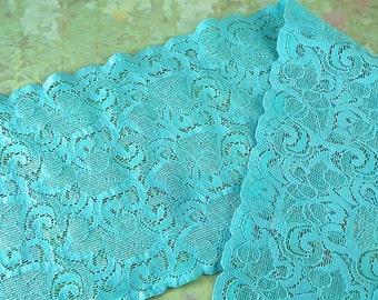 1yd Elastic Lace Stretch 5 1/2 inch Wide Floral Design Flower Trim Blue Aqua Elastic Stretch Lace Headbands Elastic Lace by the yard
