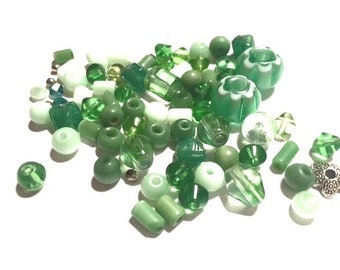 Supplies - Lot of Glass and Ceramic Beads in Shades of Green - Destash - Jewelry and Craft Supplies