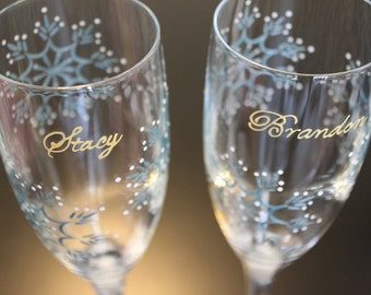 Snowflake Wedding Toasting Flutes Winter Champagne Prosecco Wine Glasses Bride Groom Mr. Mrs. Personalized Couple Custom Gold Ice Blue White