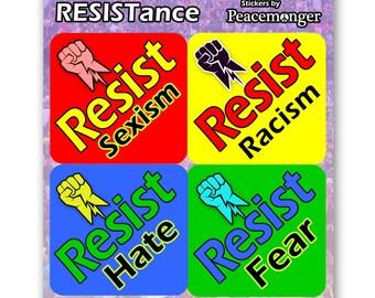 CS288  - RESIST Sticker 4 Pack Color Sticker Anti Donald Trump or Magnet Anti- Trump