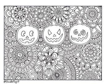 Pumpkins Halloween Coloring Page, Coloring Book Pages, Printable Adult Coloring, Hand Drawn, Art Therapy, Instant Download Print