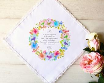 Wedding Handkerchief, Mother of the Bride Gift, Mother of the Bride Handkerchief, Mother of the Groom Handkerchief, Wedding Gift, Bride #1