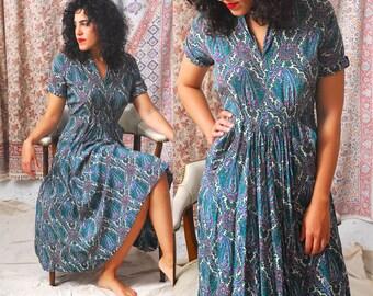 1940s Silk Dress / Paisley 40s Dress / 1940s Dress