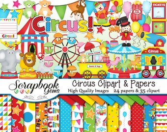 CIRCUS Clipart and Papers Kit, 35 png Clip Arts, 24 jpeg Papers Instant Download clown elephant seal games birthday party balloon amusement