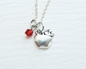 Apple Necklace- Red Apple Crystal Jewelry- Woodland- Winter- Teacher- Back to School Gift- Christmas