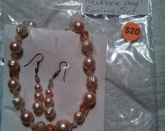 Pink and White pearl Necklace and Earring Set