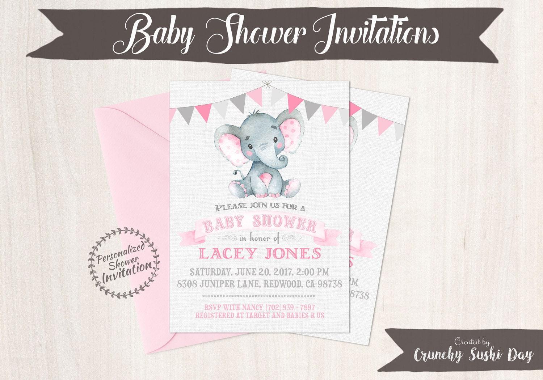 Pink elephant girl baby shower invitations printable invitations pink elephant girl baby shower invitations printable invitations baby girl safari jungle elephant pink grey nursery cute 005 filmwisefo