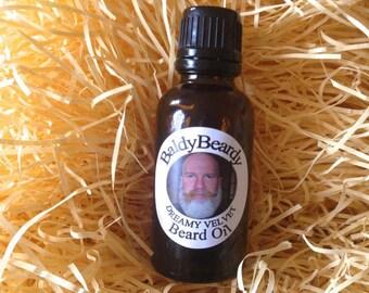 Dreamy Velvet beard oil - a conditioning, maintenance grooming oil for men, strong healthy beard growth oil. Best beard oil UK - BaldyBeardy