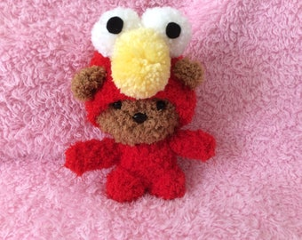 Crochet fleece scruffy Ted as Elmo